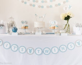 IT'S TWINS -  Baby Shower Banner, Boy Baby Shower, Baby Shower Decor, Baby Banner, Light Blue and Gray, OnePiece Baby Shower