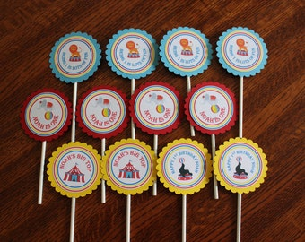 Circus Cupcake Toppers - Big Top Cupcake Toppers - Personalized Circus Toppers