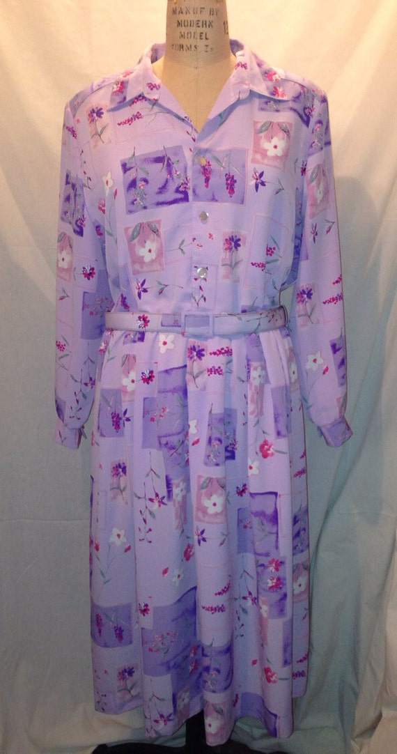 Vintage 80s Purple Flowered Polyester Dress Approx. Size 14-16