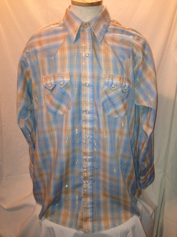 Vintage 70s Mens Long Sleeve Western Style Shirt Sale