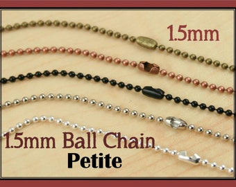 50 Necklaces  - 24 inch High Quality 1.5mm Ball Chain - Petite Chain with Connectors. Antique Silver, Bronze, Copper, Shiny Silver, Black