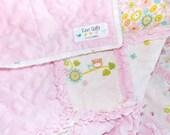 Baby Girl Rag Quilt - Blanket - Pink - Minky - Owl