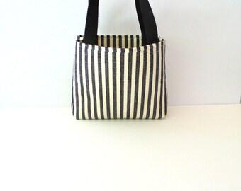 Black and White Striped Tote Bag