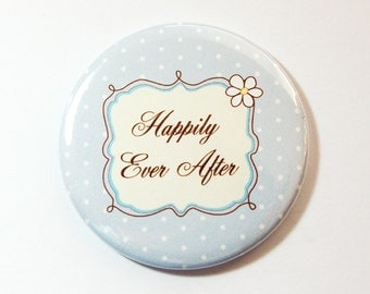Bride pocket mirror, pocket mirror, Something Blue, Happily Ever After, mirror, purse mirror, gift for her, blue, gift for bride (3609)