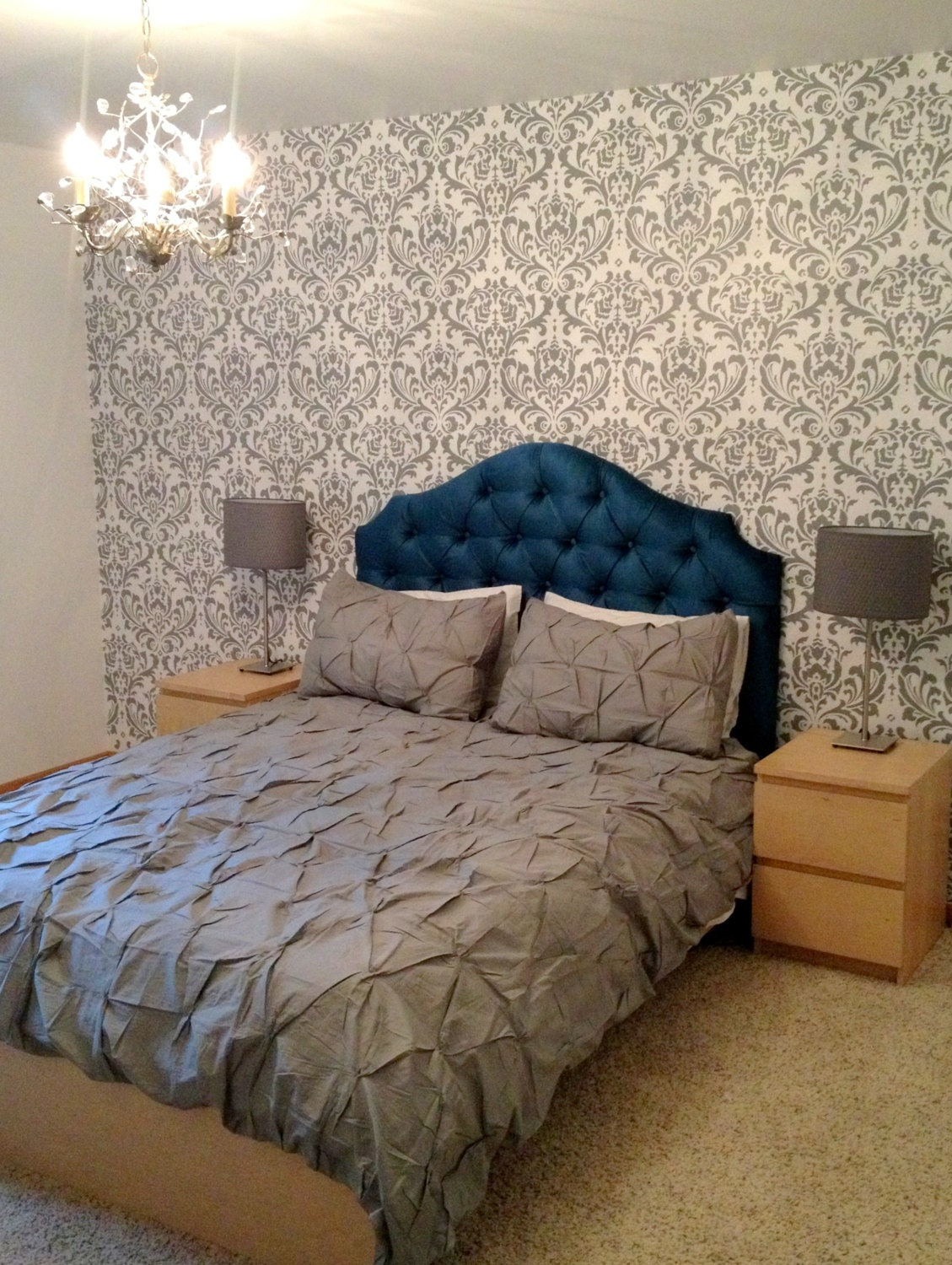 Custom Tufted Upholstered Headboard Wall Mounted By