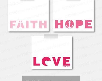 1 Corinthians 13 - Faith Hope Love Printable Set - Ombre - Christian Decor- Christian Printable - Bible Verse Art - Scripture Print - 8x10