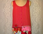 Clearance Sale Sleeveless Button Front Top Boho Hippie Upcycled Upscaled Altered Eco Clothing Colorful Funky