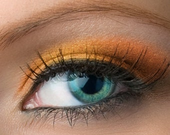 "Pumpkin Orange with Gold Shimmer Eyeshadow - ""Rikku"" - Vegan Mineral Eyeshadow Net Wt 2g Mineral Makeup Eye Color Pigment"