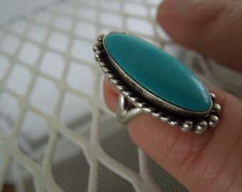 Sterling Silver Ring Native American Mexican Long Oval Blue Stone Size 3 Artist Signed