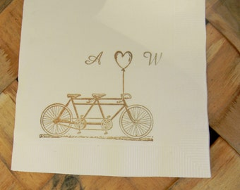 Bicycle Built for Two Tandem Love Personalized Ivory Wedding Cocktail Napkins with  Initials and Heart Balloon in Coffee ink- set of 50