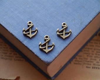 CLEARANCE 12 pcs Antique Bronze Nautical Anchor Rope Charms 19mm (BC970)