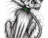 Scratcher the cat Print download Cute pet kitty puss with long curved tail and cheeky face who likes scratching things Funny animal picture