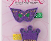 Mardi Gras Mask & Crown Felt Hair Clip Clippie 2-pack Embroidered Purple Green Gold