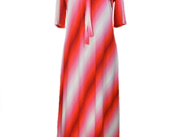 vintage 1970s striped dressing gown / Dutchess / red white pink / loungewear / house maxi dress / women's vintage dress / size small