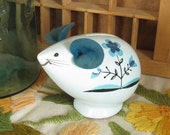 Ceramic Mouse Coin Bank Vintage Baby Blue with Teal Flower and Felt Ears