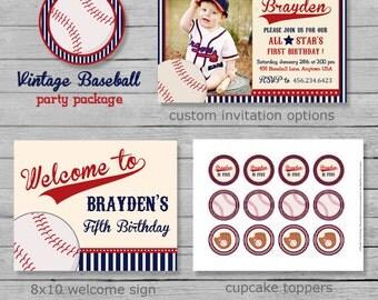 Vintage Baseball Birthday Party Package - Baseball Birthday - Baseball Party - Printable Baseball Decor - DIY Printable