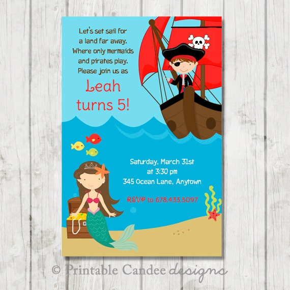 Pirate and Mermaid Birthday Invitation - DIY Custom Printable