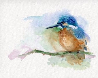Kingfisher painting, giclee print / fine art print of original watercolor bird painting