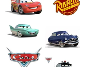 "9"" DIGITAL Disney CARS Centerpieces - Large Size - Lightning McQueen Tow Mater - Print at Home DIY"