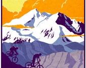 vintage retro mountain bike illustration poster print  11X15