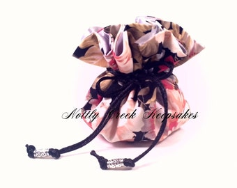 Jewelry Pouch Travel / Drawstring Jewelry Organizer / Jewelry Tote/ Cosmetic Bag / Coral Silver & Black Floral Design / Silver Satin Inside