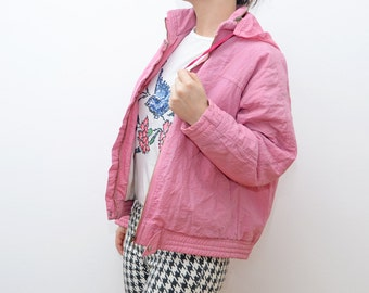 Vintage pastel pink women winter jacket / ski windbreaker outerwear
