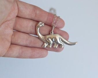 Dinosaur Charm Pendant Necklace | Sterling Silver pendant, Diplodocus handmade jewelry, cool gift women's large charm, unique men pendant
