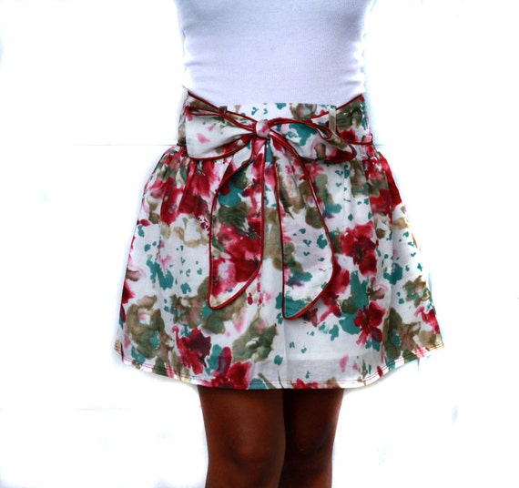 Spring Blueberry Splash Abstract Floral Mini Skirt