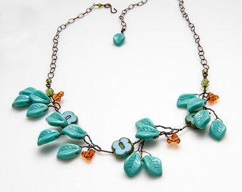 Orange Turquoise Flower Necklace, Woodland Jewelry, Leaf Necklace, Beaded Necklace, Faerie Jewelry, Leaf Jewelry