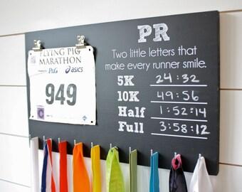 PR Race Bib and Medal Holder On Chalkboard- 5K, 10K, Half, & Full