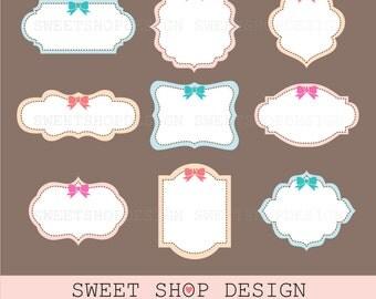 Label or Tag Clip Art, Frames Clip Art, Royalty Free Clip Art, Instant Download