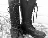 Black Leather Combat/Lace-Up/Zip-Up/Military Boots Size 6