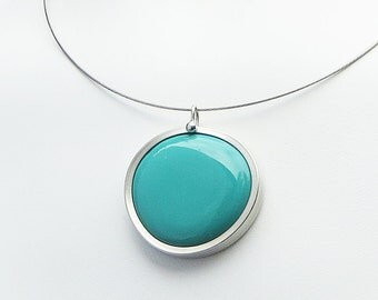 Turquoise Blue Pendant,  Melted glass marble pendant, glass jewelry, necklace pendant 021