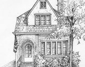 """House Drawn in Ink 8""""x 10"""" Architectural Sketch One of a Kind custom artwork house portrait your home sketch from photo - custom ink drawing"""