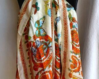 Soft cream and orange natural silk scarf, butterflies, cream, pink red, orange, white, soft and light, pink, orange, red, high quality silk