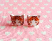 Kitty Cat Earrings for cat lovers xoxo super adorable resin stud earrings made in New York Kawaii Urban Hipster love factory nyc