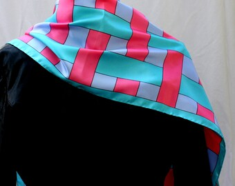 Pink and Blue Oblong Scarf, TetRex, Japan, vintage 1960s-1970s