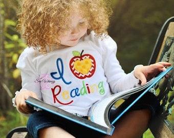 I Love Reading shirt- Back to school shirt- Teacher shirt- School shirt- Reading Applique Shirt- Apple School Shirt- Monogram- Student- Kids
