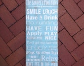 Personalized Pool Rules Sign, Hand Painted, Rustic Home Decor, Pool Patio Sign