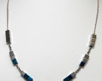 Electric Blue And Silver Hematite Stone Square Bead Necklace