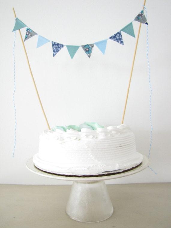 Cake Topper Fabric Cake Bunting Wedding by AthenaandEugenia