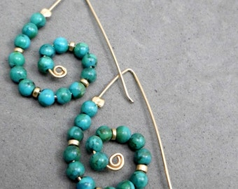 Dangle Earrings, Turquoise, Gold Filled Wire, Swirl , Snale Shaped, Unconventional, For All Outfits