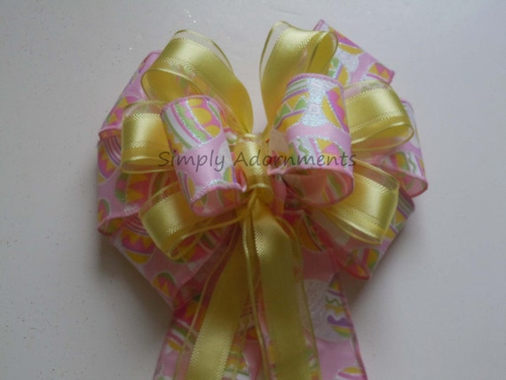 Pink Yellow Pastel Easter Decoration Bow Easter Basket Gift Bow Wedding Church Pew Bow Easter Wreath Bow Easter Shower party Decorations