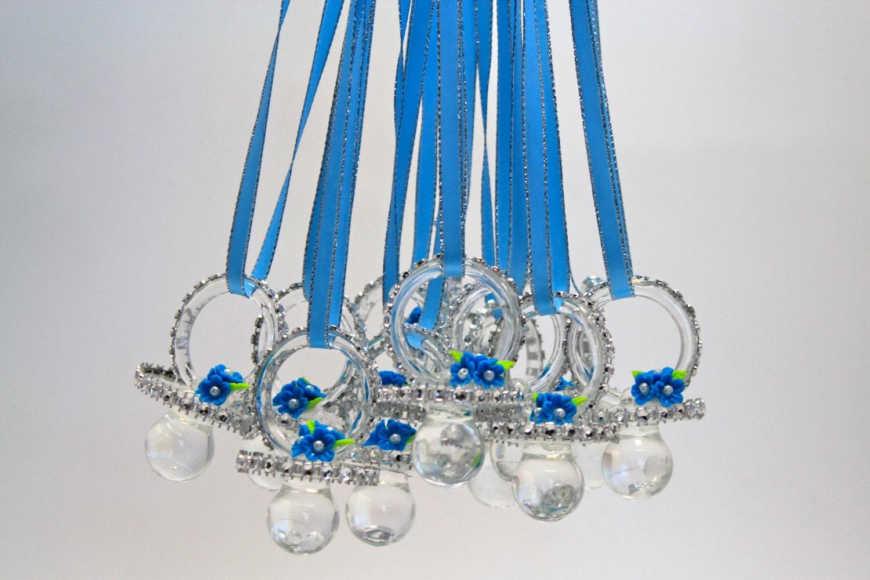 blue baby shower pacifier necklace 12 pieces by favorsboutique