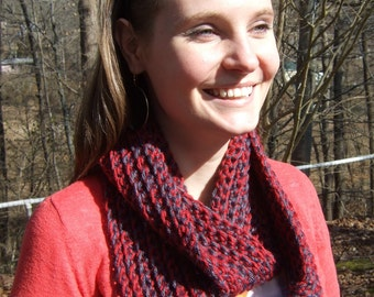 Infinity Scarf, Chunky, Crochet, Country Red and Gray, Two-Tone, women's circle scarf