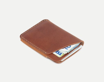 2 pocket wallet Horween leather - handmade card wallet - DHK GOODS