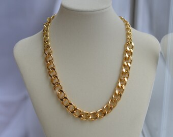Chunky Gold Chain Necklace - Gold Chain Link Necklace - Large Big Chain Necklace - Edgy Necklace Jewelry - Simple Short Chain Necklace