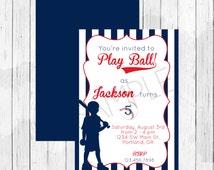 Baseball Theme Party Personalized Birthday Invitation or Evite - Softball Invitation For a Boy or Girl, Double Sided