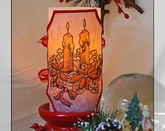Christmas LED Candle Wrap For Flameless Pillar Candles. Embroidered and Hand Colored.