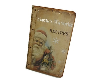 Mini Christmas Journal, Santa Notebook, Holiday Recipe Journal, Vintage Style, Santa's Favorite Recipes